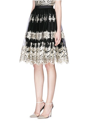 Front View - Click To Enlarge - alice + olivia - 'Justina' metallic embroidery tulle flare skirt
