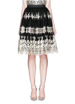 Main View - Click To Enlarge - alice + olivia - 'Justina' metallic embroidery tulle flare skirt