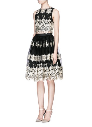 Figure View - Click To Enlarge - alice + olivia - 'Justina' metallic embroidery tulle flare skirt