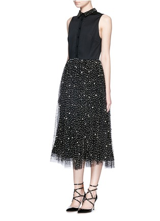 Front View - Click To Enlarge - alice + olivia - 'Rosy' embellished collar combo midi dress