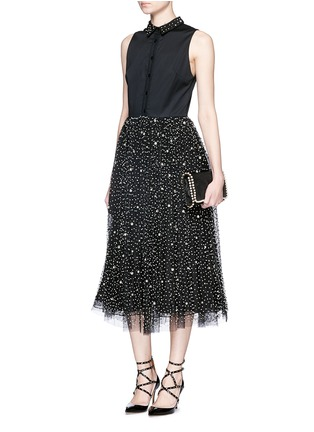 Figure View - Click To Enlarge - alice + olivia - 'Rosy' embellished collar combo midi dress