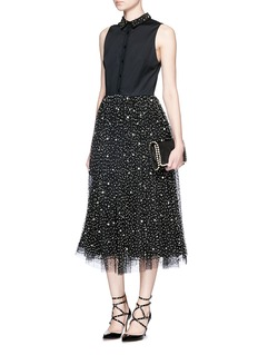 ALICE + OLIVIA 'Rosy' embellished collar combo midi dress