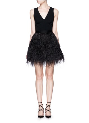 Main View - Click To Enlarge - alice + olivia - 'Kiara' lace back ostrich feather dress