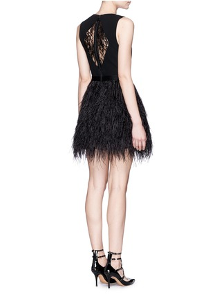 Figure View - Click To Enlarge - alice + olivia - 'Kiara' lace back ostrich feather dress
