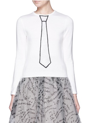Detail View - Click To Enlarge - alice + olivia - 'Sim' embellished tie intarsia sweater