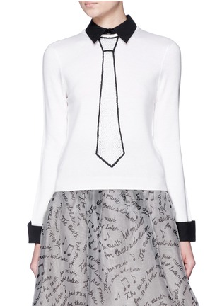 Main View - Click To Enlarge - alice + olivia - 'Sim' embellished tie intarsia sweater