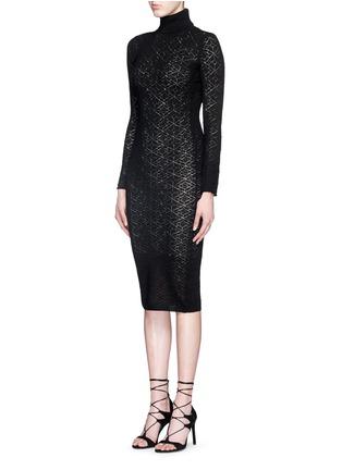 正面 -点击放大 - ALICE + OLIVIA - 镂空菱格纹针织高领连衣裙