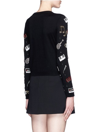 Back View - Click To Enlarge - alice + olivia - 'Tae Rock + Roll' rhinestone cotton cardigan
