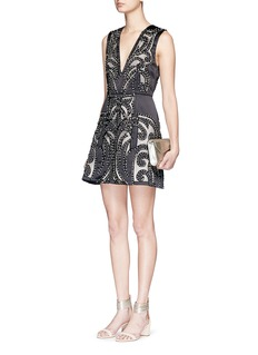 ALICE + OLIVIA 'Pacey' strass floral cutout sateen lantern dress