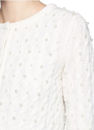 细节 - 点击放大 - ALICE + OLIVIA - 人造珍珠绞花羊毛针织外套