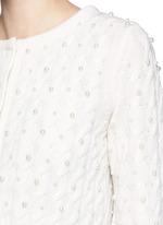 人造珍珠绞花羊毛针织外套