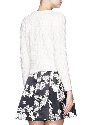 背面 - 点击放大 - ALICE + OLIVIA - 人造珍珠绞花羊毛针织外套