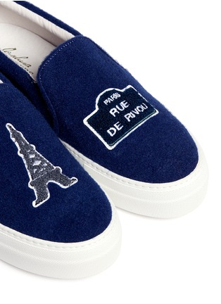 Detail View - Click To Enlarge - Joshua Sanders - 'Paris' appliqué felt skate slip-ons