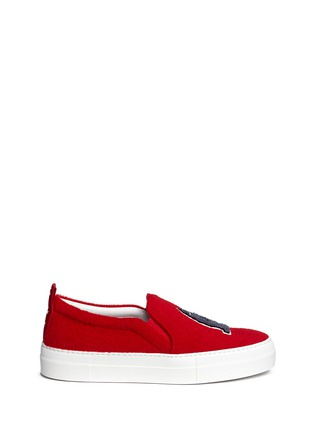 Main View - Click To Enlarge - Joshua Sanders - 'London' appliqué leather flatform skate slip-ons