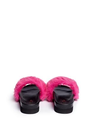 Back View - Click To Enlarge - Joshua Sanders - 'Fuxia' fur band flatform slide sandals