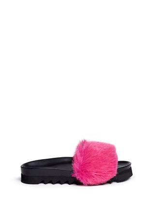 Main View - Click To Enlarge - Joshua Sanders - 'Fuxia' fur band flatform slide sandals