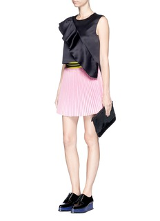 FYODOR GOLAN Stripe waist pleat faux suede skirt