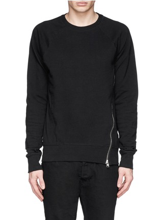 Main View - Click To Enlarge - Den Im By Siki Im - Asymmetric zip ribbed side sweatshirt