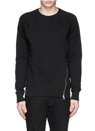 Main View - Click To Enlarge - SIKI IM / DEN IM - Asymmetric zip ribbed side sweatshirt