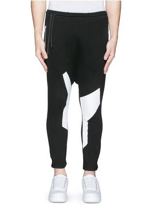 Main View - Click To Enlarge - SIKI IM / DEN IM - Off-centre drawstring contrast print jogging pants