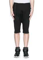 Off-centre drawstring drop crotch shorts