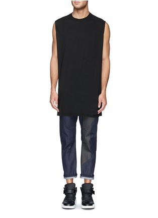 Front View - Click To Enlarge - SIKI IM / DEN IM - 'Peg' contrast print selvedge jeans