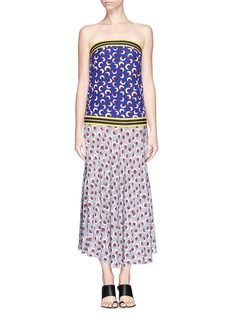 STELLA MCCARTNEY Blossom print elastic strapless silk dress
