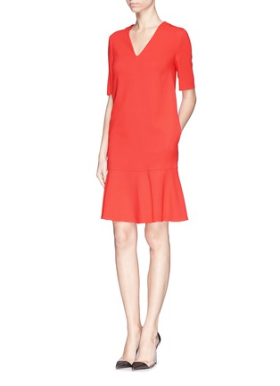 Front View - Click To Enlarge - Stella McCartney - Ruffle hem cady crepe dress