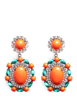 Main View - Click To Enlarge - Kenneth Jay Lane - Crystal pavé strass drop clip earrings