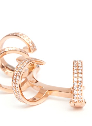 Detail View - Click To Enlarge - REPOSSI - 'Berbère' diamond rose gold 4-hoop ear cuff