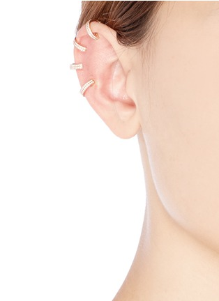 Figure View - Click To Enlarge - REPOSSI - 'Berbère' diamond rose gold 4-hoop ear cuff