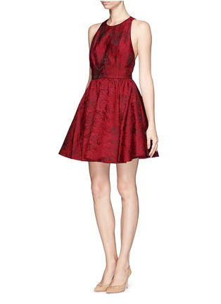 Front View - Click To Enlarge - alice + olivia - 'Tevin' floral jacquard racerback dress