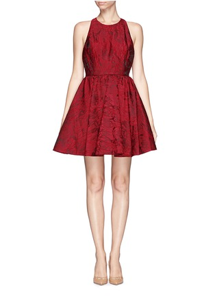 Main View - Click To Enlarge - alice + olivia - 'Tevin' floral jacquard racerback dress