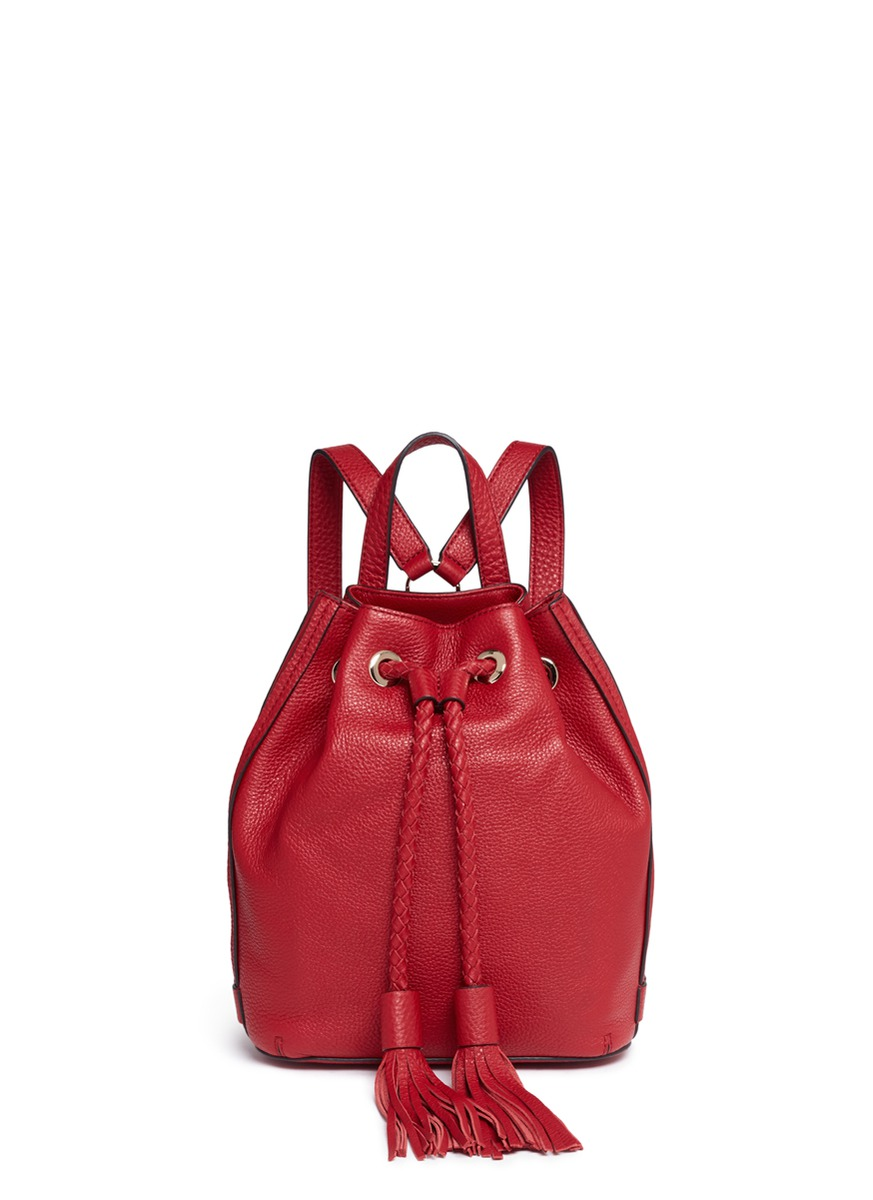 Isobel small drawstring tassel leather backpack by Rebecca Minkoff