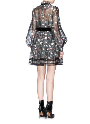 Back View - Click To Enlarge - Marc Jacobs - Licorice lamé fil coupé balloon sleeve organza dress