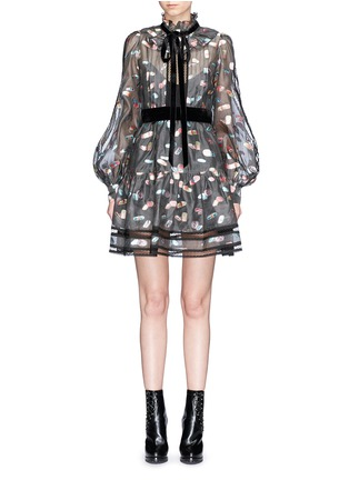 Main View - Click To Enlarge - Marc Jacobs - Licorice lamé fil coupé balloon sleeve organza dress