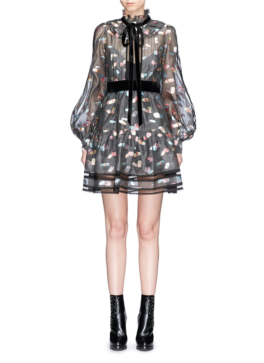 marc jacobs female licorice lame fil coupe balloon sleeve organza dress