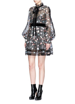 Figure View - Click To Enlarge - Marc Jacobs - Licorice lamé fil coupé balloon sleeve organza dress