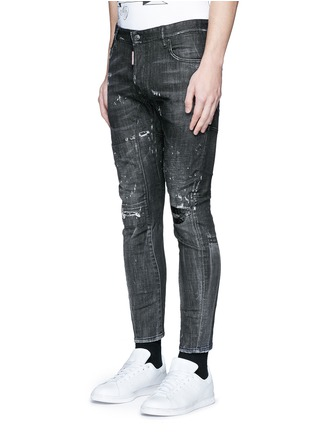 Front View - Click To Enlarge - Dsquared2 - 'Clement' distressed slim fit jeans
