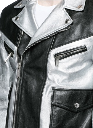 Detail View - Click To Enlarge - Dsquared2 - Metallic leather jacket