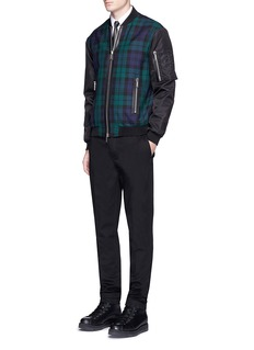 Dsquared2 Check plaid leather trim bomber jacket
