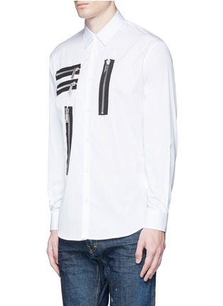 Front View - Click To Enlarge - Dsquared2 - Multi zip cotton shirt