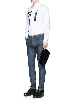 Figure View - Click To Enlarge - Dsquared2 - Multi zip cotton shirt