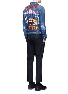 Dsquared2'Tokyo Metro Monkey' patch distressed denim jacket