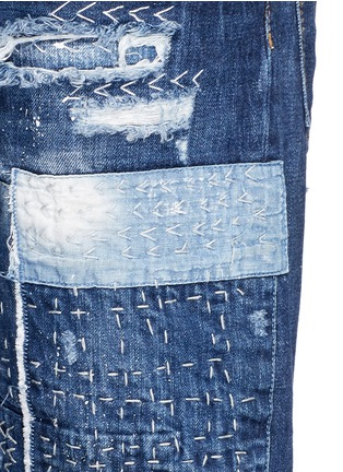 Detail View - Click To Enlarge - Dsquared2 - Boro patchwork folded cuff jeans