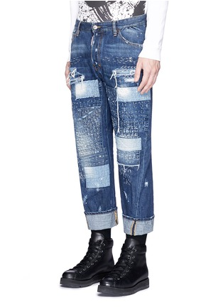 Front View - Click To Enlarge - Dsquared2 - Boro patchwork folded cuff jeans