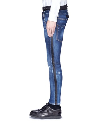 Detail View - Click To Enlarge - Dsquared2 - Slim fit contrast waist layered jeans