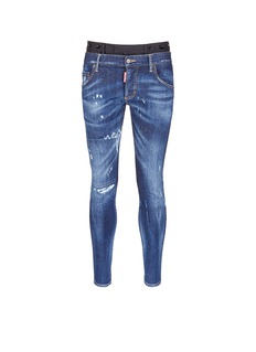 Dsquared2Slim fit contrast waist layered jeans