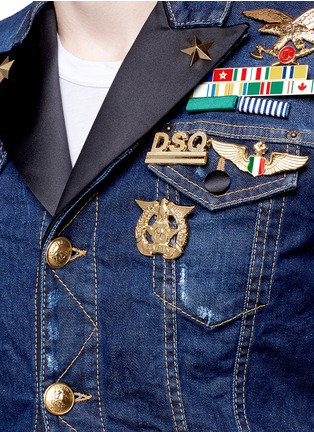 Detail View - Click To Enlarge - Dsquared2 - Blazer underlay denim military jacket