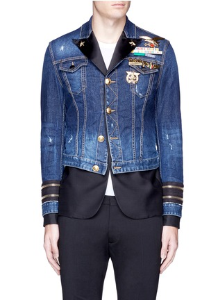 Main View - Click To Enlarge - Dsquared2 - Blazer underlay denim military jacket